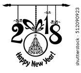 happy new year 2018  vintage... | Shutterstock . vector #512090923