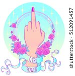female hand showing middle...   Shutterstock .eps vector #512091457
