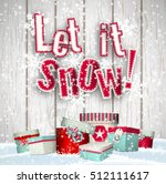 let it snow  red text on white... | Shutterstock .eps vector #512111617