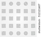labyrinth icons set. vector... | Shutterstock .eps vector #512121607