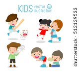 bad kids behavior  bad boy  bad ... | Shutterstock .eps vector #512129533