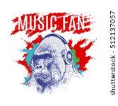 Gorilla Listening To Music On...