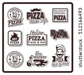 pizza icons  labels  signs ... | Shutterstock .eps vector #512166493