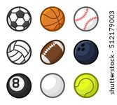 sport balls cartoon style set... | Shutterstock . vector #512179003