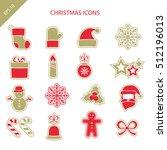 set of christmas icons. eps 10... | Shutterstock .eps vector #512196013