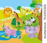 cute cartoon zoo animals  | Shutterstock .eps vector #512201203