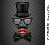mustache  bow tie  glasses  red ... | Shutterstock .eps vector #512202487