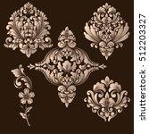 vector set of damask ornamental ... | Shutterstock .eps vector #512203327