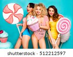 three young ladies are cool ... | Shutterstock . vector #512212597