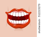 cheerful smile. red lips and... | Shutterstock . vector #512215273