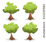 funny green trees set ...
