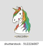 vector card with cute unicorn.... | Shutterstock .eps vector #512226007