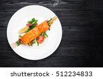 salmon steak with salt  peppers ... | Shutterstock . vector #512234833