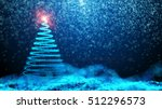 night sky with christmas tree... | Shutterstock . vector #512296573