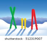 three pairs of skis in snow.... | Shutterstock .eps vector #512319007