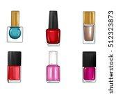 hand drawn nail polish bottles... | Shutterstock . vector #512323873