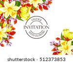 invitation with floral... | Shutterstock . vector #512373853