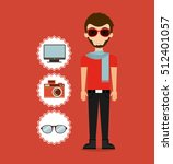 man character hipster style... | Shutterstock .eps vector #512401057