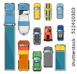 car and truck top view vector... | Shutterstock .eps vector #512410303