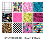 Memphis seamless patterns with geometric, grid, striped and other elements for fashion, wallpapers, wrapping, etc. Background set in trendy 80s-90s memphis style with neon colors. | Shutterstock vector #512414623