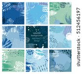 set of nine abstract vector... | Shutterstock .eps vector #512456197