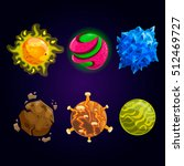 set of fantasy cartoon planet....