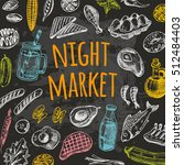 night market card on the... | Shutterstock .eps vector #512484403