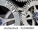 Small photo of Macro photo of tooth wheel mechanism with DENY, ADMIT concept words