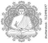 sitting buddha in lotus... | Shutterstock .eps vector #512498197