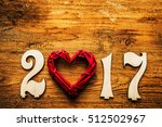 Happy New Year 2017. Red Heart...