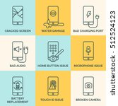 phone common issues line icons. ... | Shutterstock .eps vector #512524123