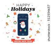 christmas card with phone call... | Shutterstock .eps vector #512554657