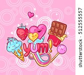 kawaii background with sweets... | Shutterstock .eps vector #512555557