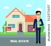 real estate broker at work.... | Shutterstock .eps vector #512573107