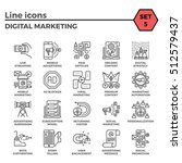 digital marketing thin line... | Shutterstock . vector #512579437