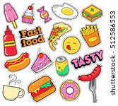 fast food badges  patches ... | Shutterstock .eps vector #512586553