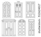 set of doors isolated. hand... | Shutterstock .eps vector #512624017