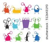 set of twelve color cute... | Shutterstock .eps vector #512643193