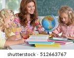 teacher with two girls  | Shutterstock . vector #512663767