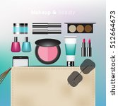 makeup and beauty bag with... | Shutterstock .eps vector #512664673