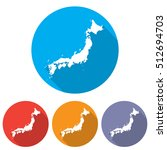 set of icons japan map in a... | Shutterstock .eps vector #512694703