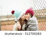 Two Cheerful Cute Teenage Girl...