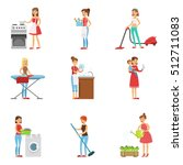 happy modern housewives... | Shutterstock .eps vector #512711083