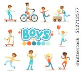 happy boys and their expected... | Shutterstock .eps vector #512712577