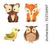 cute cartoon watercolor forest... | Shutterstock . vector #512726947