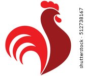 red rooster stylize  silhouette ... | Shutterstock .eps vector #512738167