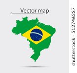 simple map of brazil with flag... | Shutterstock .eps vector #512746237
