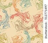 carps seamless pattern  hand...   Shutterstock .eps vector #512771497