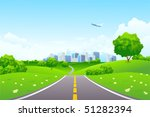 landscape   green hills with... | Shutterstock .eps vector #51282394