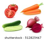Realistic Vegetables Set With...